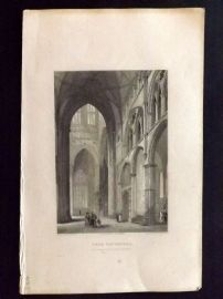 Winkles 1838 Antique Print. York Cathedral (Minster) Interior